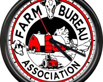 Farm Bureau Association Insurance Loans Farmer Barn Dairy Cow Pig Chicken Sign Wall Clock