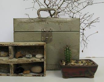 Rustic Metal Box, Vintage File Box, Rustic Storage Decor