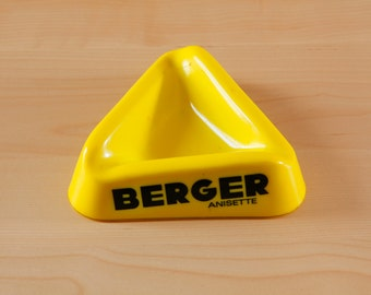 "Vintage French ""Berger Anisette"" yellow ashtray"