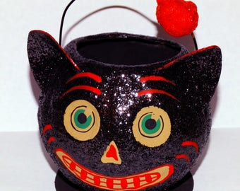 Vintage Halloween Cat Candy Container Black with Purple Glitter Kitty Paper Mache
