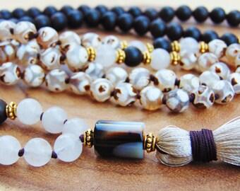 Agarwood Mala Beads, 108 Knotted Mala Necklace,Dzi Agate Mala,Quartz Necklace,Meditation Yoga Necklace,Spiritual Jewelry, Fall Jewelry