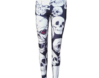 Gothic leggings red eye skull