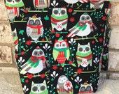 Amy Large Project Bag, Knitting Project Bag, Crochet Project Bag, Snap Bag_Christmas Owl