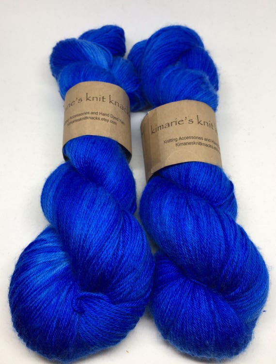 Hand Dyed MCN Sock Yarn_Sapphire_Neches Merino Cashmere Fingering/Sock Base