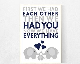 First We Had Each Other,navy gray nursery, boys room decor, Elephant Nursery Art, Nursery Decor, Baby boy Nursery Prints, navy nursery art