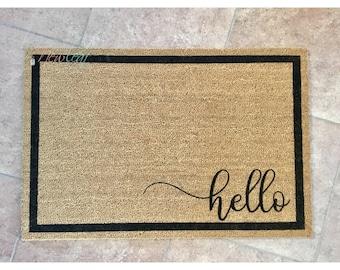 Hello Doormat - Hello Door Mat - Home Doormat - Wedding Gift for Couples - Housewarming & Hello doormat   Etsy pezcame.com