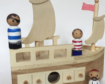 Pirate peg dolls - set of 3 - made to order - ship not included - pirates - pirate peg people- boy gift