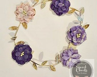 Infant headband, Toddler headband, Gold headband, purple flower crown, flower crown, dainty headband