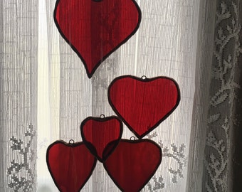 Red Stained Glass Hearts