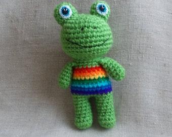Rainbow Baby Crochet Rattle Crochet Frog New Baby Gift Baby Shower Gift Baby Rattles Crochet toy Rainbow Frog Rainbow Animals Toads Eco Toys