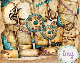 """Digital Junk Journal Papers - """"Vintage Chocolate"""" - Shabby Chic, Ephemera, Hang Tags, Flowers, Envelopes, Tickets, Instant Download, CU"""