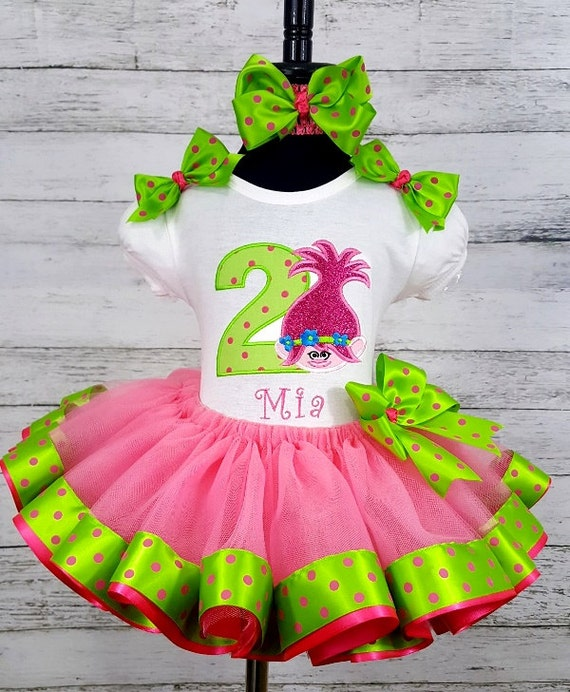 Trolls Personalized 2nd Birthday Tutu, Shirt & Headband Set