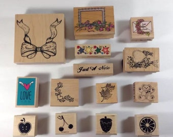 Scrapbooking Supplies Lot of 14, Stampin Up Rubber Stamps, Arts and Crafts Supply, Ink Stamps, Wooden Stamps