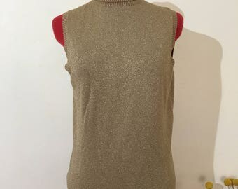 Vintage gold sparkly tank top