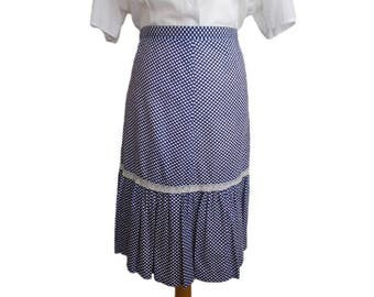 Polka Dot and Lace Mid Length Skirt Blue & White UK 16