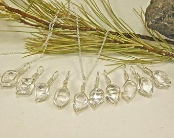 NY Herkimer Diamond Crystal - A+ Grade 7x10 mm New York Herkimer Diamond Crystal Pendant- Herkimer Diamond Jewelry - Herkimer Jewelry