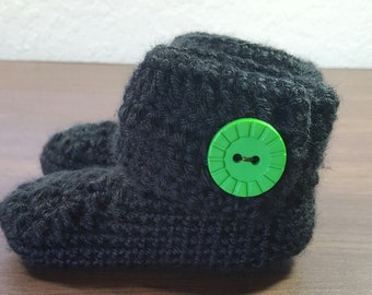 Crochet Black Baby Boots/Booties/Shoes, 6-12months
