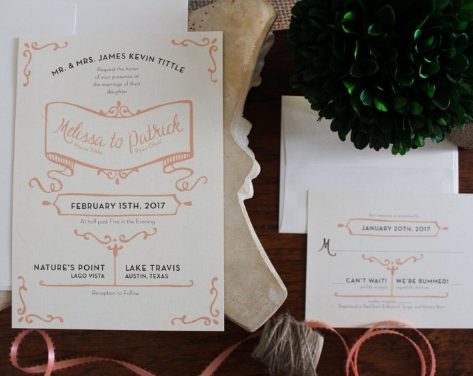 PRINTABLE Wedding Invitation Suite | Rustic Chic in Coral & Cream