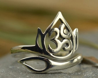 Yoga Jewelry Lotus Openwork Ohm Ring Flower Spiritual 925 Sterling Silver Adjustable UK Size J K L M N O P