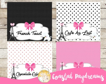 Paris Party-Paris Food Tent Labels-Set of 8-Paris Party Labels-Paris Themed Birthday-Paris Party Supplies-Girls Birthday-Paris Party Package