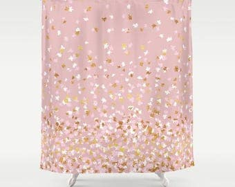 gold and pink shower curtain. Shower Curtain  Floating Confetti Dots Pink Blush White Gold 71 x74 shower curtain Etsy