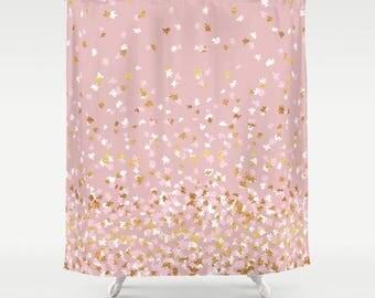 "Shower Curtain - Floating Confetti Dots - Pink Blush White Gold - 71""x74"" - Bath Curtain Bathroom Decor Accessories"