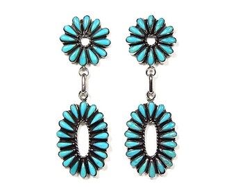 Genuine Kingman Turquoise  925 Sterling Silver Southwestern Jewelry Stud, Post Dangle Earrings. Free Shipping in USA