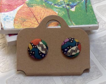 Liberty Fabric button | Button earrings | Stud earrings | Made in the UK | Unique gift ideas