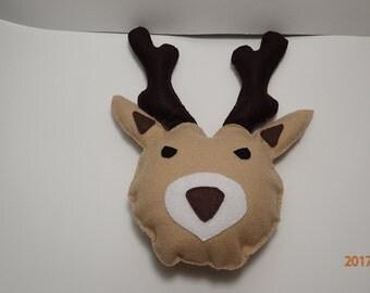 Deer with antlers,  felt pillow