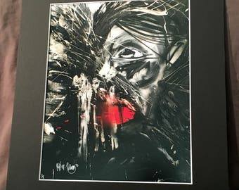 Horror Face 11x14 print - expressive, abstract, dark, portrait, mixed media on canvas
