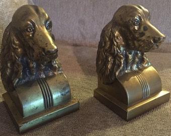 Brass Spaniel Dog Bookends