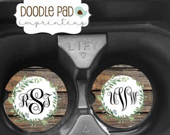 Monogrammed Car Coaster, SandStone Car Coasters, Personalized Cup Holder Coaster