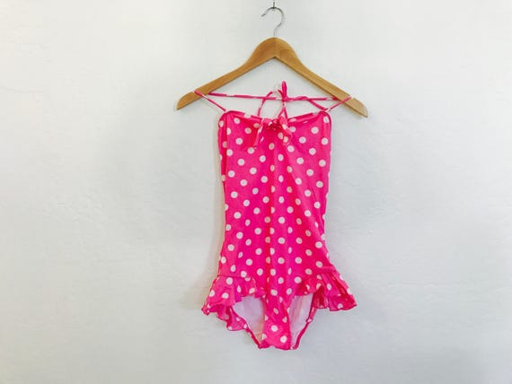80s Polka Dot Ruffle One Piece -never worn