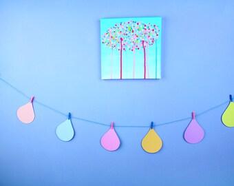 Cute Pastel Raindrops Bunting   Garland   Party Decor
