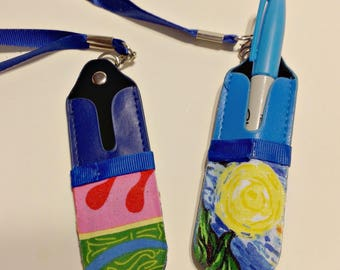 Pen Holder Lanyards, Starry Night, Laurel Burch,Frida Kahlo,Aboriginal Art,Crayons,Teacher Lanyard,Practical, Every Day GIft