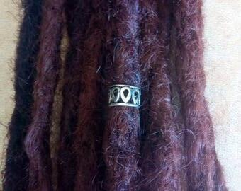 Silver plated dread bead. Big hole dreadlock bead. Dread schmuck.