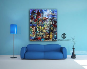 """Print of an Artwork Titled: """"Blue Town II"""", High Quality Canvas"""