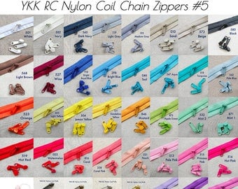 2x YKK Size 5 RC (Racquet Coil) Nylon Handbag/Bag Long Pulls ONLY for Chain/Continuous/By-The-Metre Zipper in 40 Colours (4 Metallic Colours
