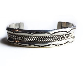Vintage Sterling Silver Stamped Wire Cuff Taxco Southwestern Bracelet ~ Mens Tribal Jewelry