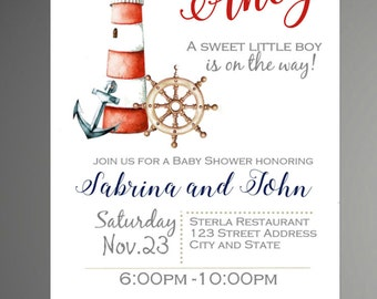 Ships Ahoy, Nautical Baby Shower Invite, Baby Boy Invitation, Sailboat Baby Shower Invitation - INSTANT DOWNLOAD
