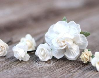 Flower Wedding Rose Ivory Flower Bobby Pins Ivory Bridal Hair Picks Flower Crown Bobby Picks Bridal Hair Accessories Bridesmaid Hair Pieces