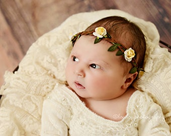 First Communion Flower Crown, Yellow Flower Crown, Baby Flower Crown, Girl Flower Crown, Toddler Flower Crown, Hair Wreath Ivory, Baby Halo