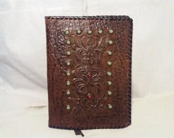Vintage 1970's Handmade Dark Brown Leather Portfolio - NEW