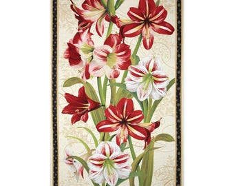 Making Spirits Bright Amaryllis Panel  Wilmington  Cotton Quilt Fabric