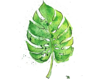 Philodendron Leaf - Cheese Plant Leaf - Giclée Print of Hand Painted Original Art