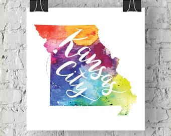 Custom Missouri Map Art, MO Watercolor Heart Map Home Decor, Kansas City or Your City Hand Lettering, Personalized Giclee Print, 5 Colors