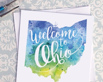 Ohio Watercolor Map Greeting Card, Welcome to Ohio Hand Lettered Text, Gift or Postcard, Giclée Print, Map Art, Choose from 5 Colors