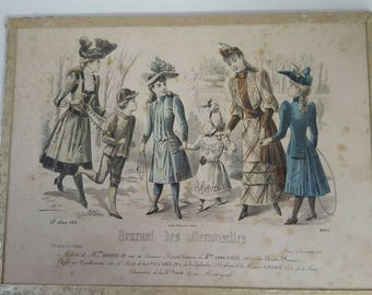 Antique Vintage 1890's / French Fashion Print /Journal des Demoiselles / French Fashion / Vintage Fashion Print