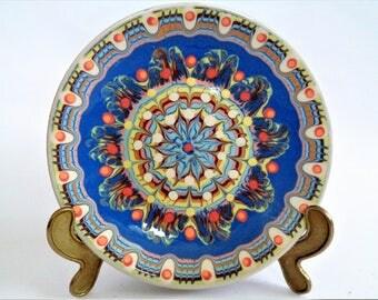 Blue Ceramic Plate, Bulgarian Pottery, Handmade Pottery