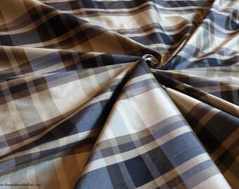 "Silk fabric - Gorgeous Navy blue/olive/tan plaid - 100% Silk Lightweight dupioni - 54"" Wide - EP Silk #92"